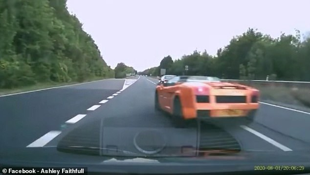 Dashcam footage captured on the A3 in Hampshire shows the dramatic moment an orange supercar appears from out of nowhere on the outside lane