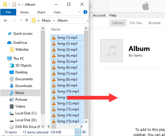 Drag songs from Windows Explorer to iTunes playlist